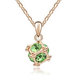 Fashion Womens Cube Green Crystal Rhinestone Gold Chain Pendant Necklace New ()