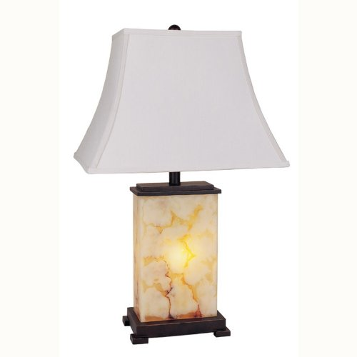 ORE International 8304 Table Lamp with Night Light, Black, Brown and Ivory