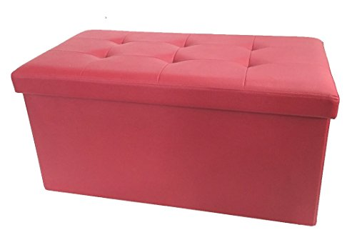 FOREST Leather Foldable Ottoman Storage Bench-Seat, Coffee/Side Table, Leg Rest, 36 Inch, Cherry Maroon (F-7031)