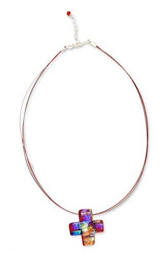 NOVICA .925 Sterling Silver Dichroic Art Glass Pendant Necklace 'Bright Cross'