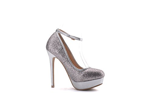 Pumps Mila Slim with Lady Fashion Shoes Silver Party Sparkles High ELVA01 Dress Heel Strap Women Embellished Sexy Stilettos HRpFq0Hx