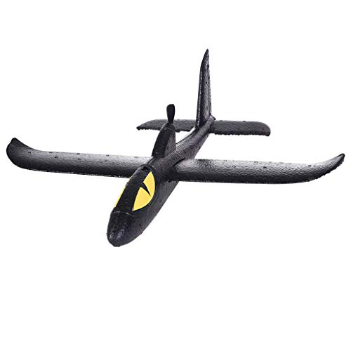 TKI-S Black Elf Shark Hand Throwing Aircraft Capacitor Hand Throwing Machine Glider Aircraft Electric Throwing Foam Aircraft DIY Assembly Model Outdoor Sports Flying Toy Children Gift (Black) ()