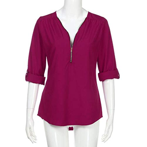Holywin Uni Longues Femme Vif Rose Chemisier Manches rqCw8rp
