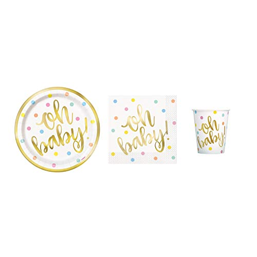 (Baby Shower Deluxe Party Pack Serves 16 Plates Cups & Napkins (Oh Baby Gold))