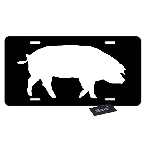 WONDERTIFY License Plate Pig Silhouette Isolated on Black Background Decorative Car Front License Plate,Vanity Tag,Metal Car Plate,Aluminum Novelty License Plate,6 X 12 Inch (4 Holes)