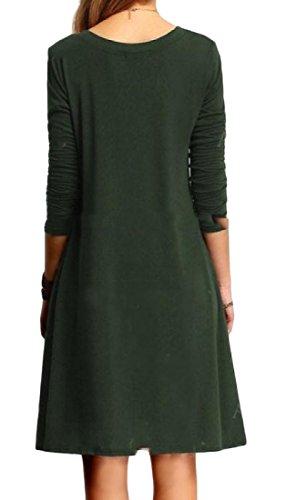 Donne A Manica Con Solido Comodi Colore Scollo Partito V Verde Sera Del Vestito Da Puro Di Lunga r6wBqrx