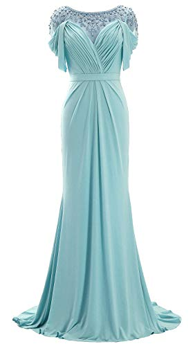 MACloth Women Short Sleeve Jersey Formal Evening Gown Scoop Neck Long Prom Dress (US16w, Aqua) ()