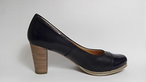 Desiree-Zapatos de salon de piel -altura tacon 7,5 cm.-Azul
