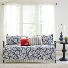 Georgia Navy Printed 6 Pieces Cotton Twill Reversible Daybed Cover Set