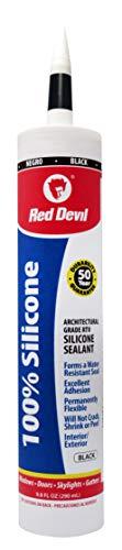 Red Devil 081660 Architectural Grade 50 Year 100% Silicone Sealant, Black, 9.8 oz Cartridge 100% Silicone Rubber Sealant