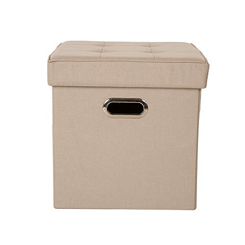 Glitzhome Foldable Linen Storage Ottoman Storage Cubes with Padded Seat Foot Rest, Cream