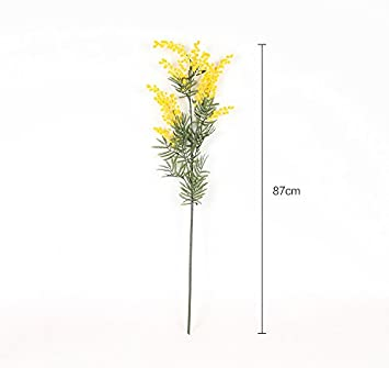 Htmeing 4pcs Mimosa Artificial Silk Flowers Fake Plants Branches Spray Pudica Acacia Bouquet Home Wedding Fall Decoration Yellow