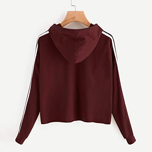 à Pull à Chemisier Pull Hood Casual Du Shirt Vin Femme Molletonné Rayures Striped Long Tops Beikoard Sweat Sweat Capuche pq4H8Fgn7