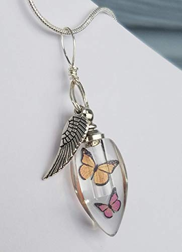 Cremation Urn Bead Monarch Butterflies Angel Wing Sympathy Gift Sterling Silver Necklace