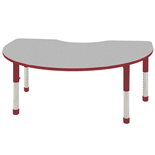 ECR4Kids 48'' x 72'' Kidney Shape Activity Table, Gray Top/Red Edge, Chunky Legs and Seven 12'' Red School Stack Chairs w/ Ball Glides by ECR4Kids