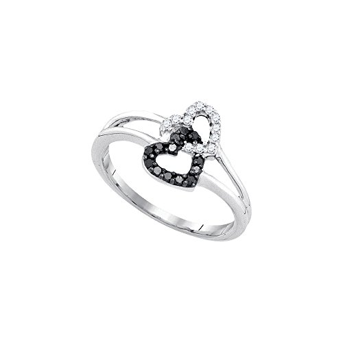 925-Sterling-Silver-016-Ct-Black-White-Round-Diamond-Heart-Promise-Ring