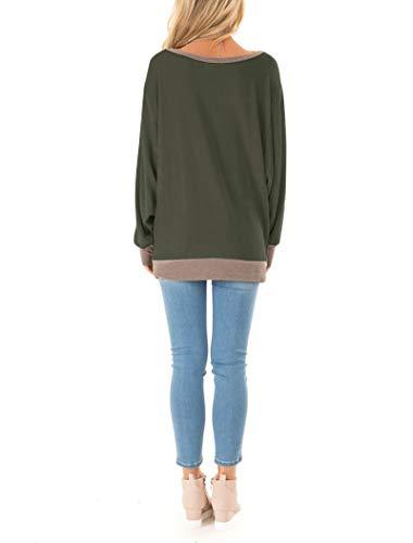 Fallorchid Women's Long Sleeve Crew Neck Tunics Loose Fit Casual Color Block Tops