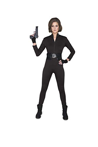 Assassin Catsuit Costume - Halloween Womens Sexy Spy Black Jumpsuit, Large -