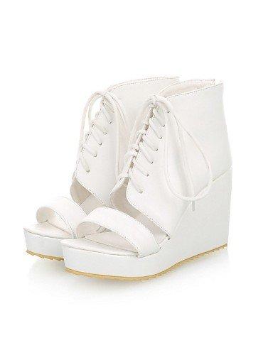 LFNLYX Chaussures Femme-Extérieure / Décontracté-Noir / Blanc-Talon Compensé-Compensées-Sandales-Similicuir , white , us6 / eu36 / uk4 / cn36