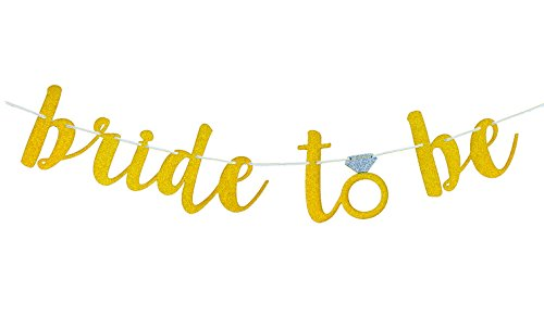 Famoby Gold Bride to be Banner for Engagement Party and Bachelorette Party Decorations ()