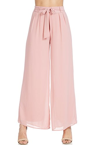 (Womens Chiffon Long Palazzo Pants Wide Leg Dress Bottom (Blush, Medium))