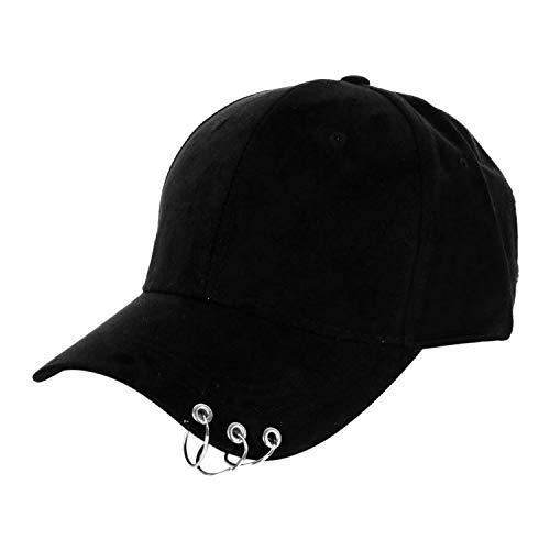 Mens Snapback Fashion K-Pop Iron Ring Hats Adjustable Baseball Cap Unisex Casual ()