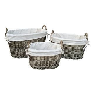 Medium White Lined Antique Wash Oval Wicker Storage Basket by Red Hamper