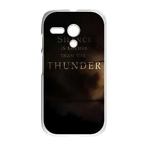 Motorola G Cell Phone Case White quotes parallax silence louder than thunder VIU934690