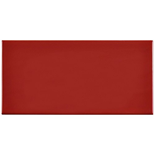 SomerTile WXR3PSAR Pente Subway Ceramic Wall Tile, 3'' x 6'', Glossy Apple Red by SOMERTILE