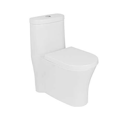 MAYKKE Morar One-Piece Toilet with Elongated Oval Soft-Closing Seat | Modern Style Dual Flush Siphonic Jets, Extra-Wide Concealed Trapway | 1.6 GPF and 12