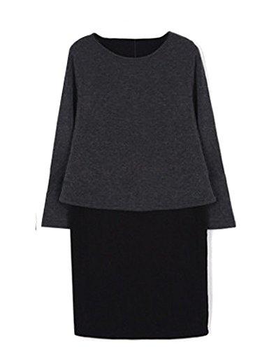 Women Two Sleeve O Piece Casual Beige Long Neck Dress r7B6wrqWv