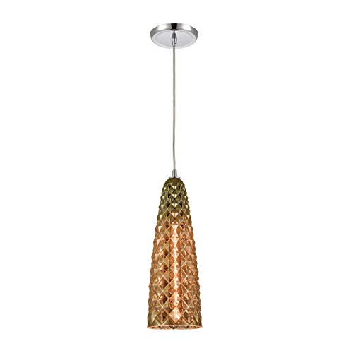 Glitzy 1-Light Mini Pendant in Polished Chrome with Golden Bronze Plated Glass
