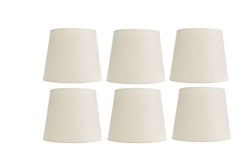 (Upgradelights White Silk 4 Inch Retro Drum Clip On Chandelier Lampshades (Set of 6) 3x4x4)