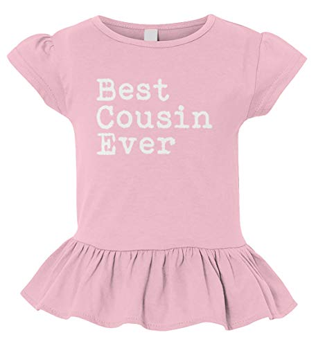 Best Cousin Ever - Birthday Gift Present Toddler/Youth Ruffle Jersey Tee (Light Pink, 4T (Toddler))