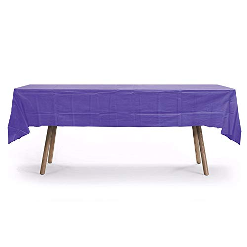 GiftExpressions 12-Pack Party Disposal Premium Plastic Tablecloth 54 Inch. x 108 Inch. Rectangle Table Cover (Purple, 12 Pack Rectangle 54 Inch. x 108 Inch.) ()
