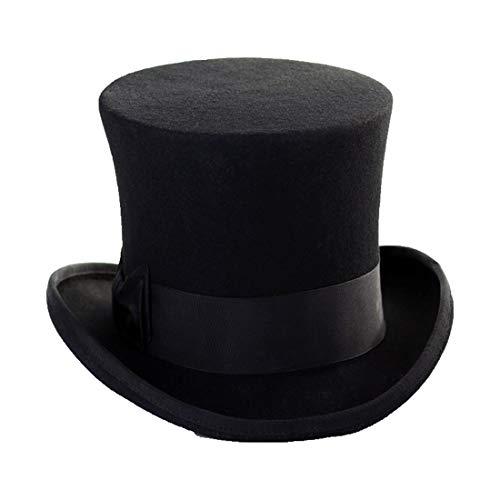 BYMHH Hard Version Magic hat top hat Magician hat, Black 18cm Height, XL (61cm)