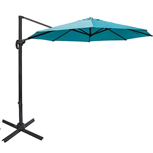 Sundale Outdoor 11 ft Offset Hanging Umbrella Market Patio Umbrella Aluminum Cantilever Pole with Cover, Crank Lift and Cross Frame, Polyester Canopy, 360°Rotation, for Garden, Deck, Backyard, Blue