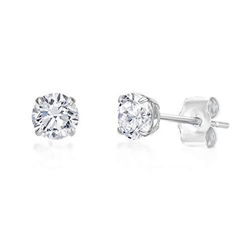 Lavari - 14k White Gold 4MM Round Cubic Zirconium Stud Earrings (Zirconium 14k Cubic Ring)