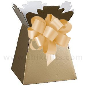 Shik Gifts Gold Gold Living Vase Flower Box Flower Bouquet Transporter Sweet Tree Box and Gold Pull Bow
