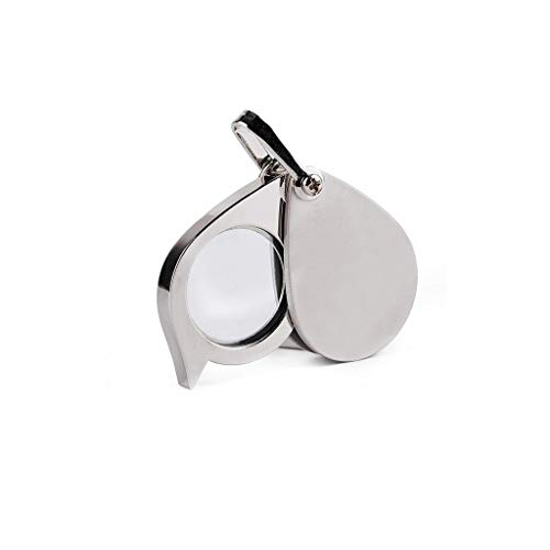 (Mini Folding Magnifying Glass Metal Pocket Magnifier for Reading Portable 8X 20MM Jewelry Coins, Hobby, Travel Small Lens Old Man Kids Silver Loupe)