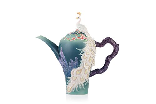Franz Porcelain White Peacock Teapot