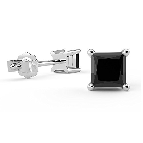 Boucles d'oreilles diamant noir 0,50carats or blanc 14ct Coupe Princesse 4griffes