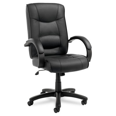 (Alera® - Strada Series High-Back Swivel/Tilt Chair, Black Leather Upholstery - Sold As 1 Each - Tailored seat and back with top-grain leather upholstery.)