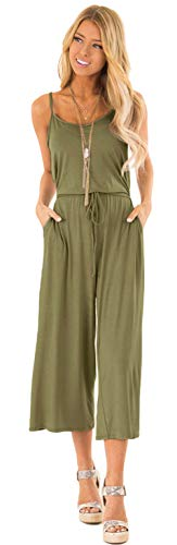 Longwu Women's Casual Loose Spaghetti Strap Jumpsuit Waist Tie Wide Leg Romper Overall Playsuit with Pockets ArmyGreen-L]()