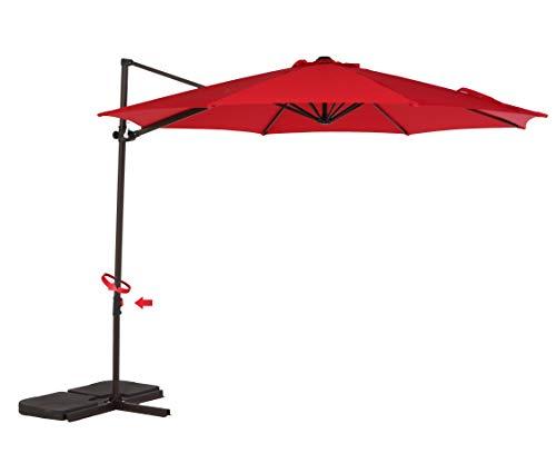 Grand Patio Offset Outdoor Umbrella, 10 feet Anti-Ultraviolet Cantilever Patio Umbrella with tilt Canopy, Crank Lift & 360° Rotation,Brick Red
