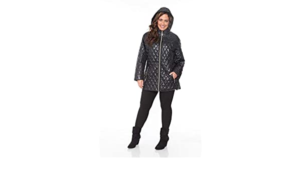 c4ad60c30c74f2 Amazon.com  Ally s Fashion New Black Plus Size Women Jacket Puffer Coat  Hooded Zippered Quilted 1X 2X 3X US  Clothing