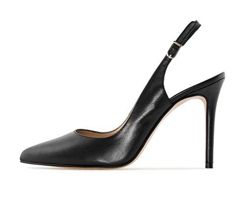 Sammitop Women's Slingback Pumps High Heel Closed Toe Elegant Party Office Dress Shoes Black US9