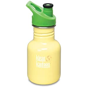 Klean Kanteen 12 oz Stainless Steel Water Bottle Sports Cap 3.0 in Bright Green - Yellow Sunshine