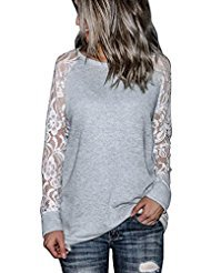 Price comparison product image Orangeskycn Fashion Womens Casual Lace Long Sleeve Pullover Crop O-Neck T-Shirt Blouse Tops (Gray, XL)