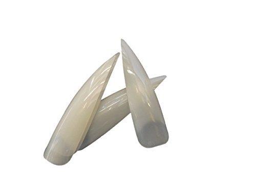 50 x Top Qualität Falsche lange länge Volle Deckung Extrem Stöckelschuh Punkt Spitze French falsche nägel, 10 verschiedene größen (5 von jede größe) & klein kleber von Fat-catz-copy-catz - 50x Zugespitzten Natürliche Nägel, 0-9
